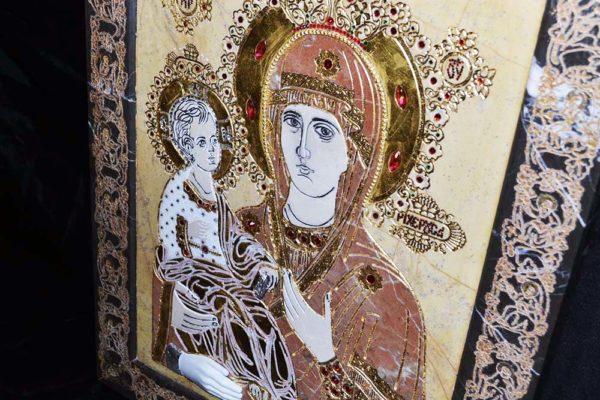 Икона Божией Матери Троеручица № 2-12-11 из мрамора, камня, изображение, фото 2