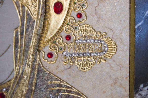 Икона Божией Матери Троеручица № 2-12-6 из мрамора, камня, изображение, фото 8