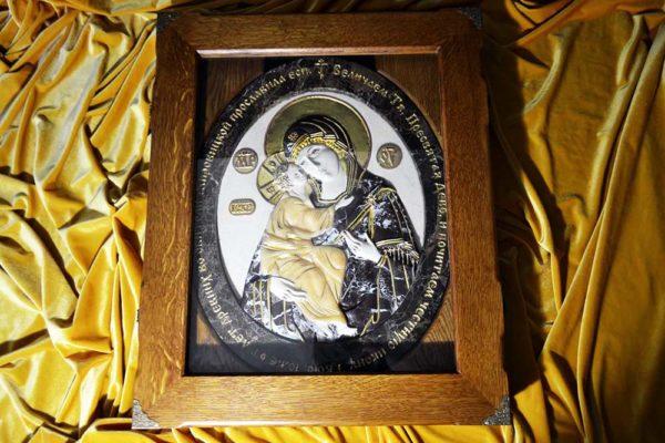 Икона Жировицкой Божией Матери № 1 (рельефная) из мрамора, камня, изображение, фото 4