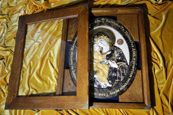 Икона Жировицкой Божией Матери № 1 (рельефная) из мрамора, камня, изображение, фото 8
