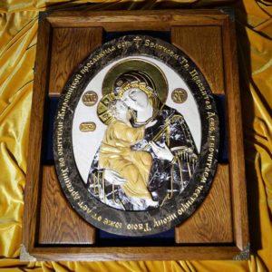 Икона Жировицкой Божией Матери № 1 (рельефная) из мрамора, камня, изображение, фото 1