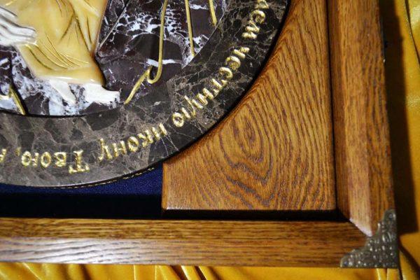 Икона Жировицкой Божией Матери № 1 (рельефная) из мрамора, камня, изображение, фото 7