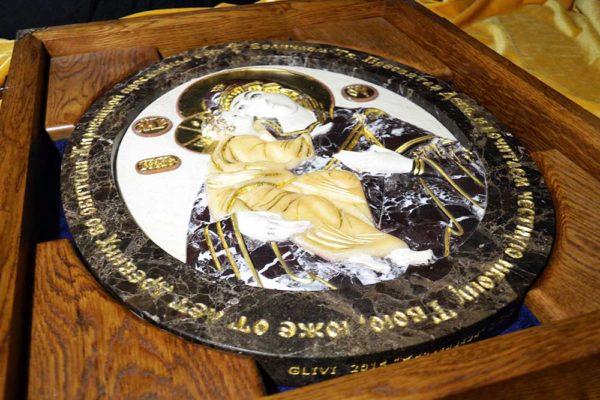 Икона Жировицкой Божией Матери № 1 (рельефная) из мрамора, камня, изображение, фото 2
