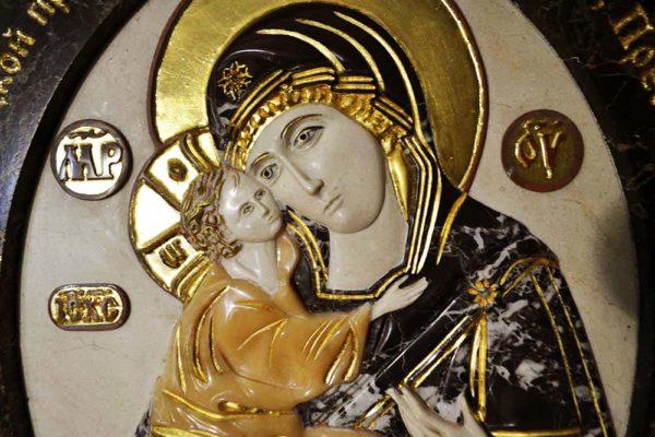 Икона Жировицкой Божией Матери № 1 (рельефная) из мрамора, камня, изображение, фото 6
