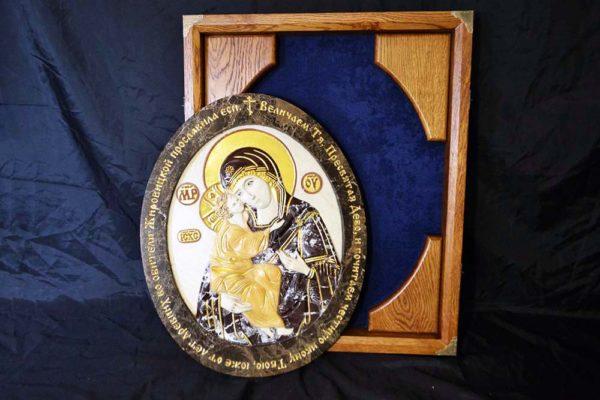 Икона Жировицкой Божией Матери № 1 (рельефная) из мрамора, камня, изображение, фото 3