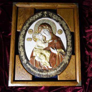 Икона Жировицкой Божией Матери № 2 (рельефная) из мрамора, камня, изображение, фото 1