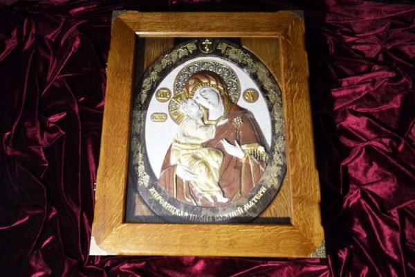 Икона Жировицкой Божией Матери № 2 (рельефная) из мрамора, камня, изображение, фото 5