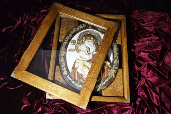 Икона Жировицкой Божией Матери № 2 (рельефная) из мрамора, камня, изображение, фото 8