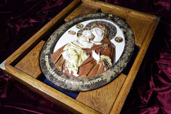 Икона Жировицкой Божией Матери № 2 (рельефная) из мрамора, камня, изображение, фото 4