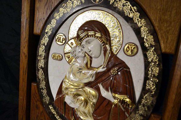 Икона Жировицкой Божией Матери № 2 (рельефная) из мрамора, камня, изображение, фото 2