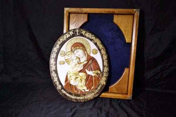 Икона Жировицкой Божией Матери № 2 (рельефная) из мрамора, камня, изображение, фото 6