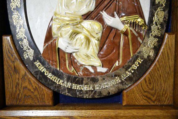 Икона Жировицкой Божией Матери № 2 (рельефная) из мрамора, камня, изображение, фото 10