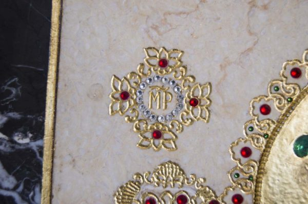 Икона Божией Матери Троеручица № 2-12-6 из мрамора, камня, изображение, фото 9