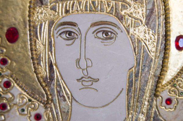 Икона Божией Матери Троеручица № 2-12-6 из мрамора, камня, изображение, фото 10
