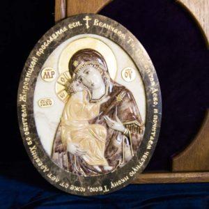 Икона Жировицкой Божией Матери (Богоматерь) № 3 (рельефная) из мрамора, камня, изображение, фото 1