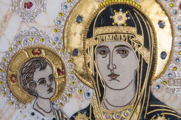 Икона Божией Матери Троеручица № 2-12-10 из мрамора, камня, изображение, фото 5
