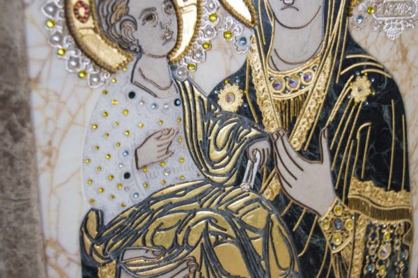 Икона Божией Матери Троеручица № 2-12-10 из мрамора, камня, изображение, фото 7