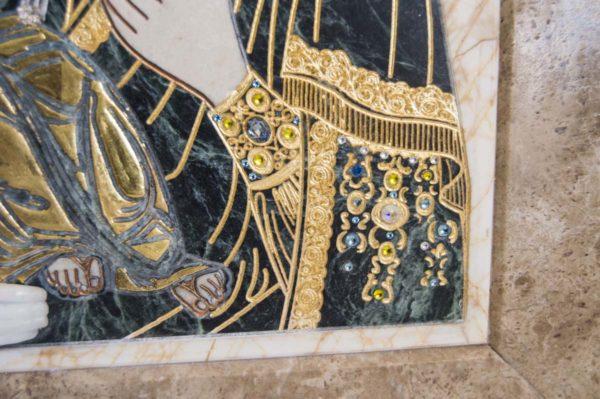 Икона Божией Матери Троеручица № 2-12-10 из мрамора, камня, изображение, фото 8