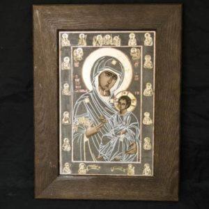 Икона Иверской Божией Матери № 1-2 из мрамора, камня, от Гливи, фото 3