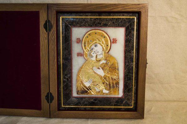 Икона Владимирской Божией Матери № 6 из мрамора, камня, от Гливи, фото 1