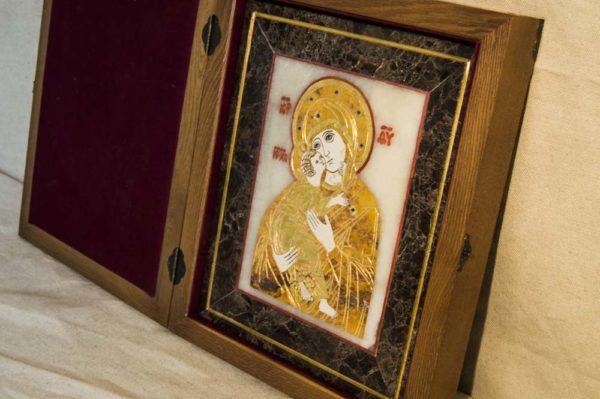 Икона Владимирской Божией Матери № 6 из мрамора, камня, от Гливи, фото 2
