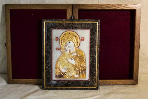 Икона Владимирской Божией Матери № 6 из мрамора, камня, от Гливи, фото 3
