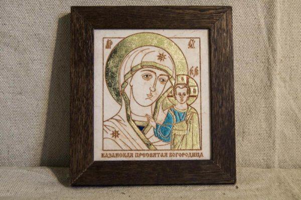 Икона Казанской Божией Матери № 32 подарочная из мрамора, камня, от Гливи, фото 1