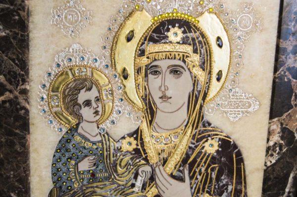 Икона Божией Матери Троеручица № 2-12-13 из мрамора, камня, изображение, фото 1