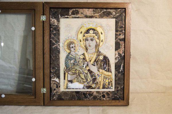 Икона Божией Матери Троеручица № 2-12-13 из мрамора, камня, изображение, фото 2