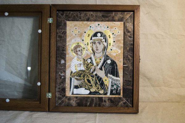 Икона Божией Матери Троеручица № 2-12-12 из мрамора, камня, изображение, фото 2