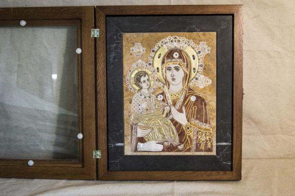 Икона Божией Матери Троеручица № 2-12-14 из мрамора, камня, изображение, фото 2