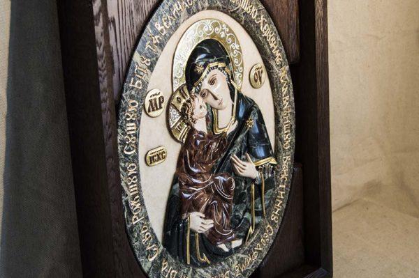 Икона Жировицкой Божией Матери (Богоматерь) № 4 (рельефная) из мрамора, камня, изображение, фото 1