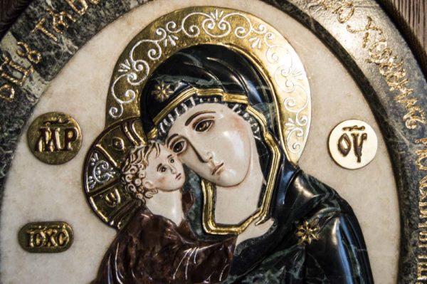 Икона Жировицкой Божией Матери (Богоматерь) № 4 (рельефная) из мрамора, камня, изображение, фото 4