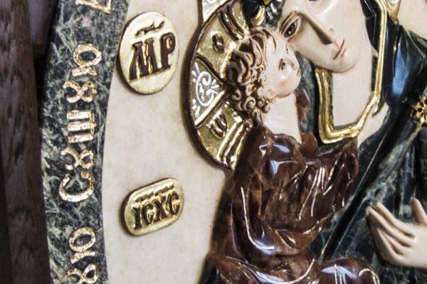 Икона Жировицкой Божией Матери (Богоматерь) № 4 (рельефная) из мрамора, камня, изображение, фото 3