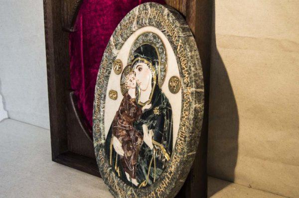 Икона Жировицкой Божией Матери (Богоматерь) № 4 (рельефная) из мрамора, камня, изображение, фото 2