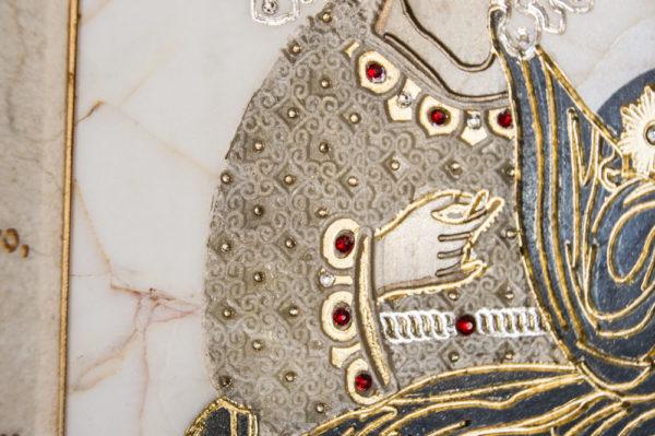 Икона Божией Матери Троеручица № 2-12-3 из мрамора, камня, изображение, фото 4