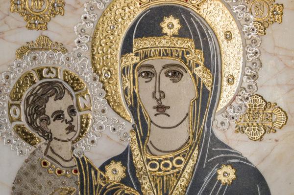 Икона Божией Матери Троеручица № 2-12-3 из мрамора, камня, изображение, фото 6