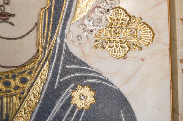 Икона Божией Матери Троеручица № 2-12-3 из мрамора, камня, изображение, фото 8