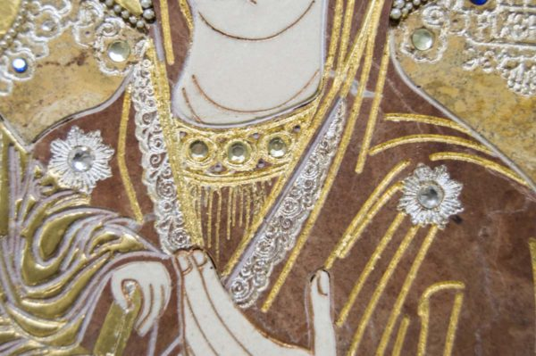 Икона Божией Матери Троеручица № 2-12-14 из мрамора, камня, изображение, фото 6