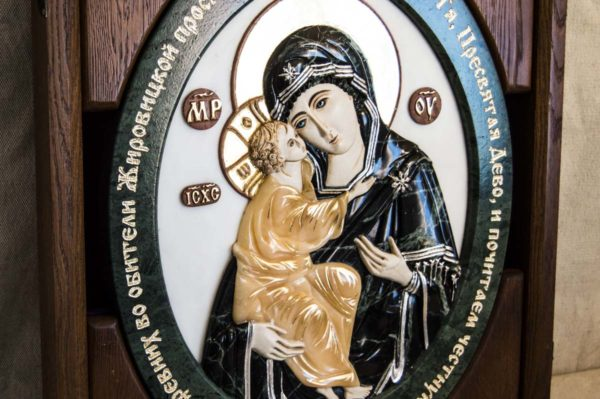 Икона Жировицкой Божией Матери (Богоматерь) № 5 (рельефная) из мрамора, камня, изображение, фото 8