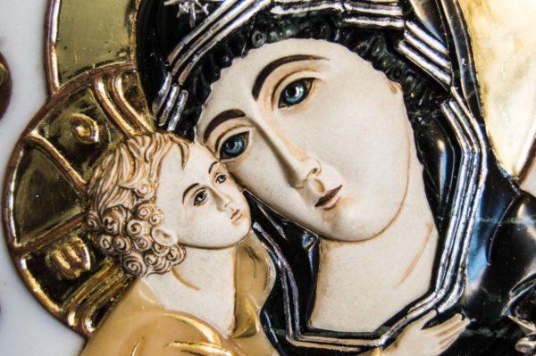 Икона Жировицкой Божией Матери (Богоматерь) № 5 (рельефная) из мрамора, камня, изображение, фото 9