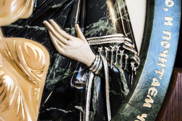 Икона Жировицкой Божией Матери (Богоматерь) № 5 (рельефная) из мрамора, камня, изображение, фото 6