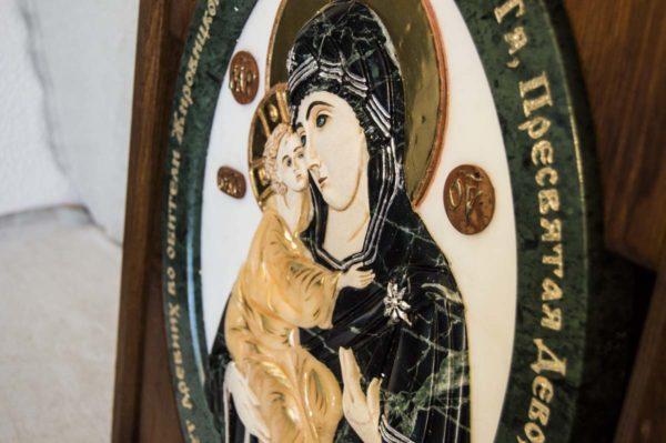 Икона Жировицкой Божией Матери (Богоматерь) № 5 (рельефная) из мрамора, камня, изображение, фото 4