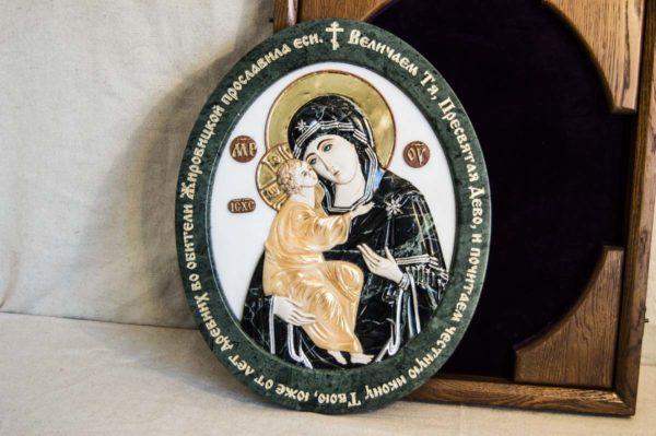 Икона Жировицкой Божией Матери (Богоматерь) № 5 (рельефная) из мрамора, камня, изображение, фото 7