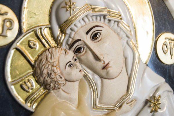 Икона Жировицкой Божией Матери (Богоматерь) № 6 (рельефная) из мрамора, камня, изображение, фото 1