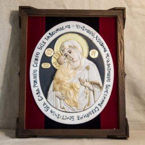 Икона Жировицкой Божией Матери (Богоматерь) № 6 (рельефная) из мрамора, камня, изображение, фото 12