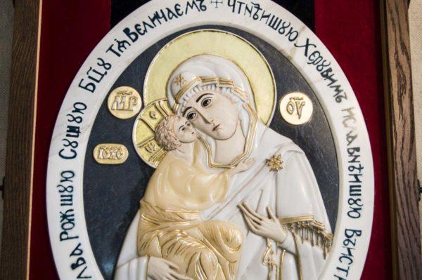 Икона Жировицкой Божией Матери (Богоматерь) № 6 (рельефная) из мрамора, камня, изображение, фото 9