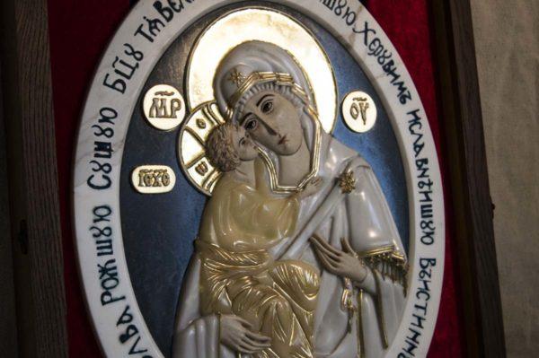 Икона Жировицкой Божией Матери (Богоматерь) № 6 (рельефная) из мрамора, камня, изображение, фото 3