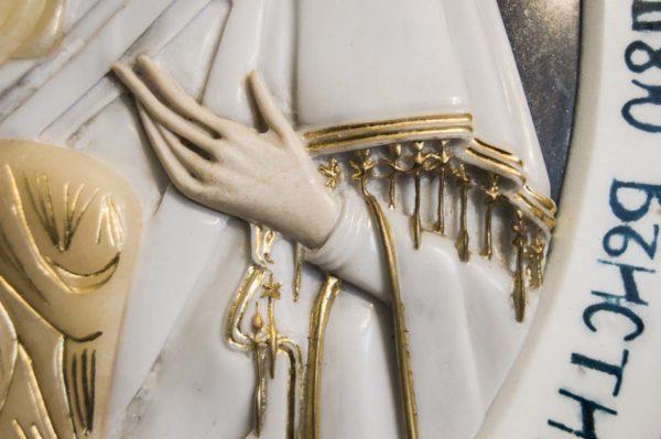 Икона Жировицкой Божией Матери (Богоматерь) № 6 (рельефная) из мрамора, камня, изображение, фото 6