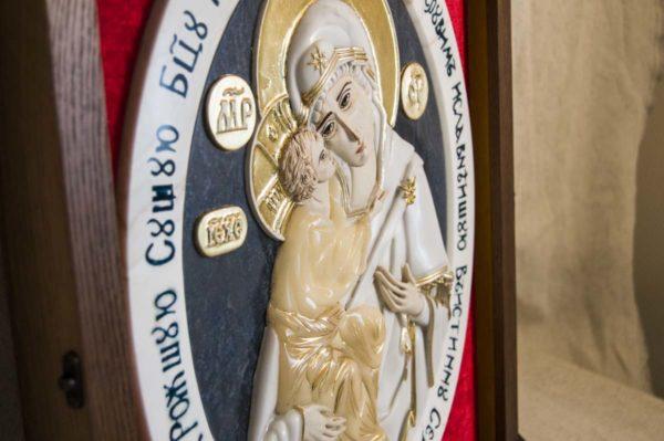 Икона Жировицкой Божией Матери (Богоматерь) № 6 (рельефная) из мрамора, камня, изображение, фото 2
